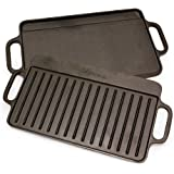 Victoria Rectangular Griddle, Reversible Cast Iron, 12.5 x 7.5 inch, Seasoned