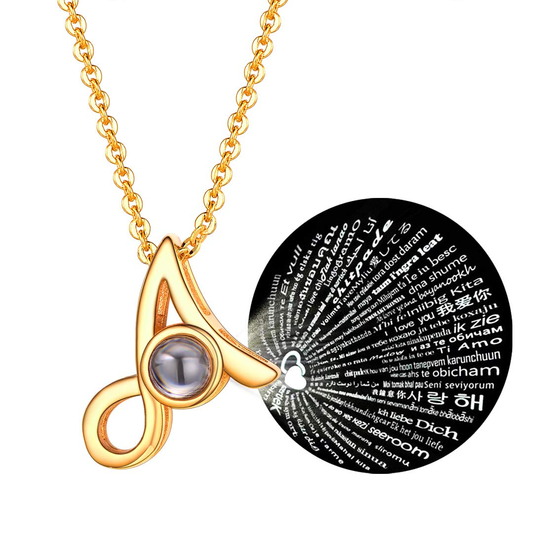bea8aed3cd542 U7 Monogram Necklace AZ 26 Letters Pendants with Custom Engrave Service 18K  Gold/Platinum Plated 100 Language I Love You/Disc Coin/Hexagon/Square Tiny  ...