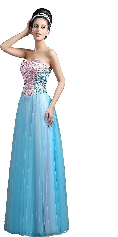 Babyonline® Damen Lang Trägerlos Mit Pailletten Partykleider Abendkleid Brautjunfernkleid