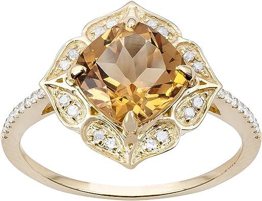 1.25ct Genuine Citrine Diamond Ring Vintage Style in Sterling Silver