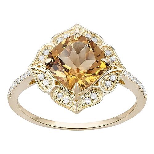 5e909905a8a0 10 K Amarillo Oro Estilo Vintage cojín citrino y diamante anillo   Amazon.es  Joyería