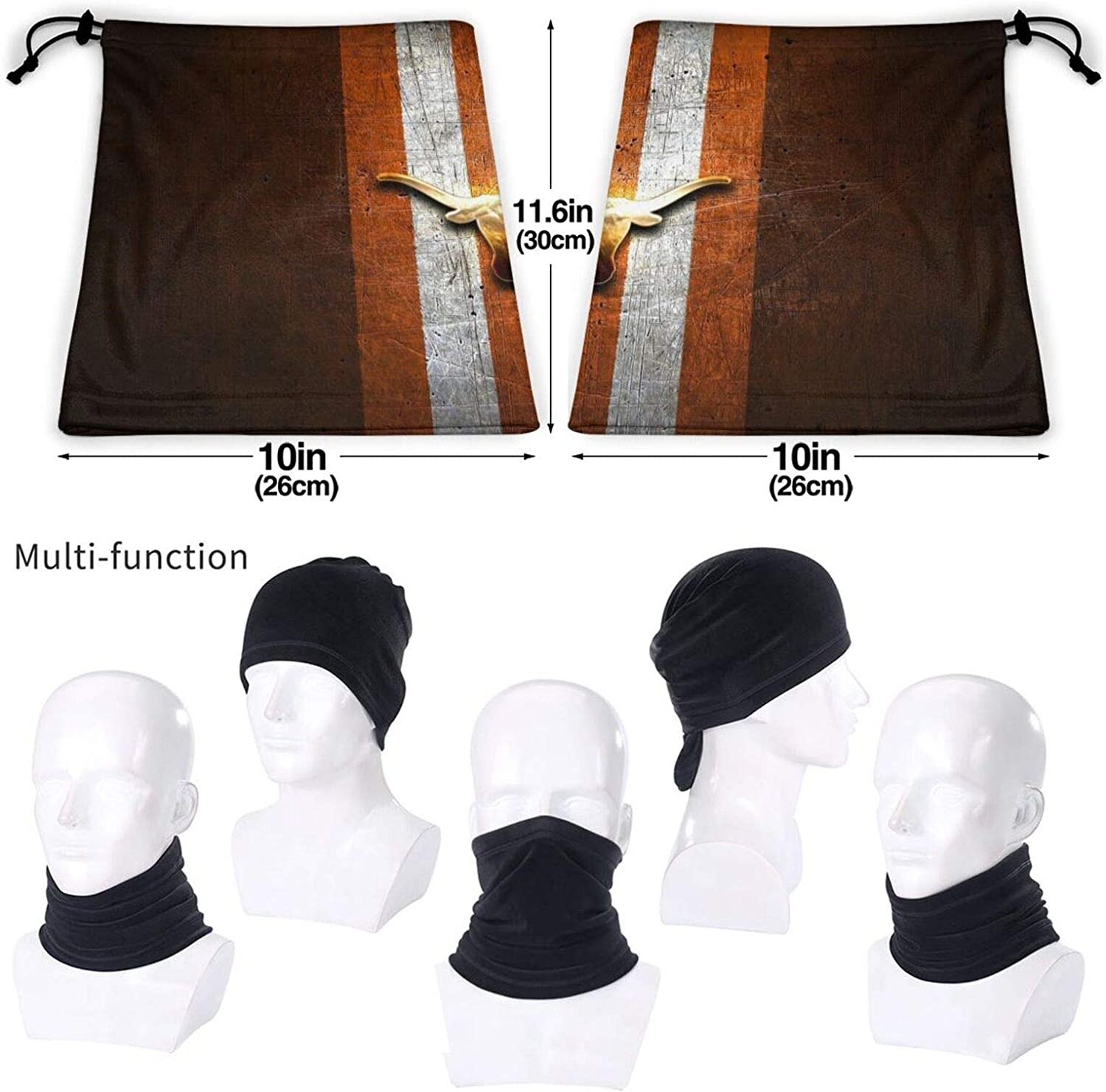 Texas-Longhorns-Golden-Orange Multifunctional Neck Gaiter Face Cover Scarf Face Cover Balaclava Neck Warmer for Women Men Protection Cover Balaclava Scarf Shield Ideal for Camping Fishing