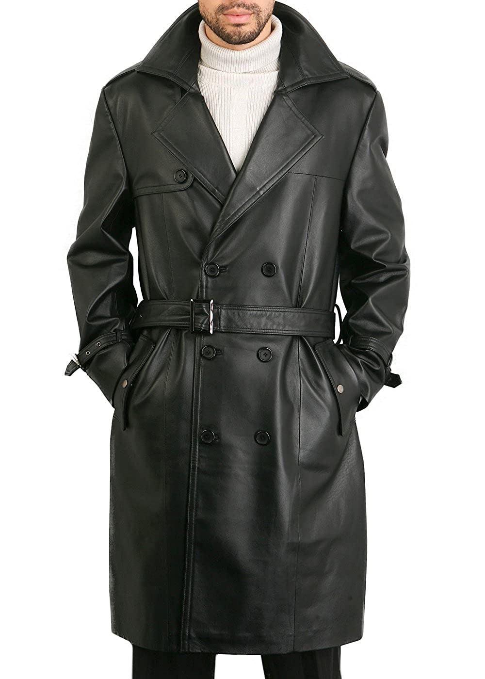 BGSD Mens Xander Classic Leather Long Trench Coat Regular and Big /& Tall and Short Sizes