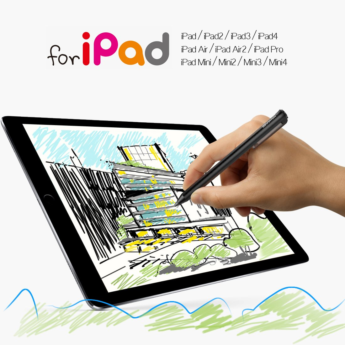 HAHAKEE iPad Stylus Pen, No Bluetooth Connection, Support 40hrs Working & 30Days Standby, High Precision Rechargeable Stylus for ipad Series, Passed FCC Certification by HAHAKEE-life (Image #7)