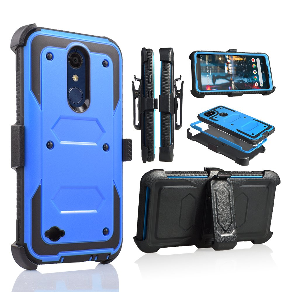 for 5 3 Inch LG K30 Case,LG Premier Pro LTE Case, LG Phoenix Plus Phone  Case Cover with Screen Protector Clip Holster Kickstand Grip Sides Shock