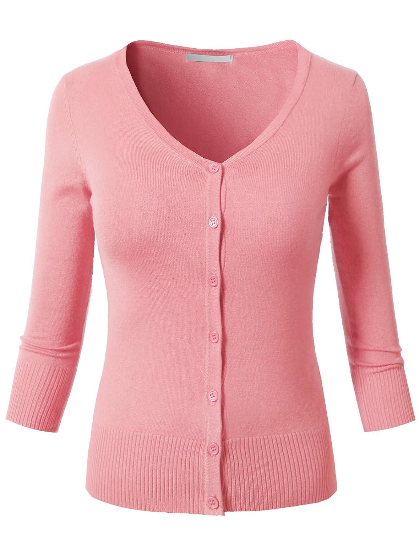 (エイチ2エイチ) H2H レディース カジュアルニットカーディガン ウルトラストレッチ 7分袖 Vネック B01LNH36N6 M|Awocal0221-pink Awocal0221-pink M
