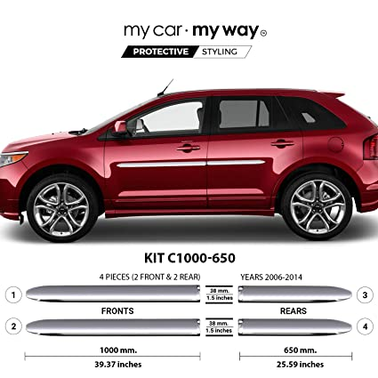 Amazon Com My Car My Way Fits Ford Edge   Chrome Body Side Molding Cover Trim Door Protector Automotive