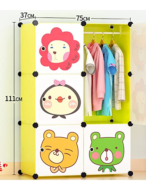 Portable Clothes Closet Wardrobe Cartoon Freestanding Storage Organizer With Doors 6 Cube