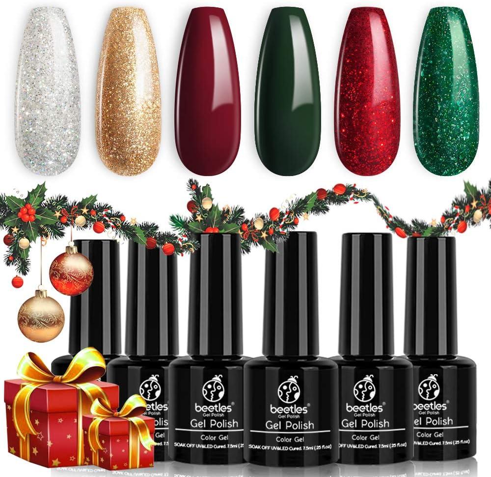 Beetles Gel Nail Polish Set, Merry Christmas Kit Sparkle Green Glitter Gold Silver Dark Green Dark Red Soak Off UV Nail Lamp LED Cured, 7.3ml Each Bottle for Nail Art Design Gift
