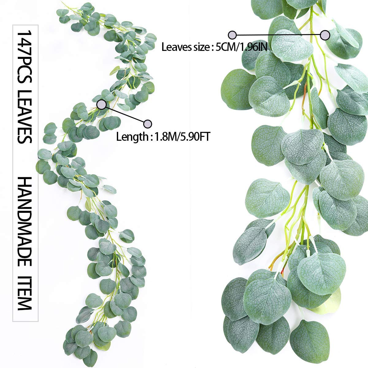 Verdure Ksnrang Vignes Artificielles Verdure de Guirlande deucalyptus en Fausse Soie D/écor de Mur de Mariage darche de Fond
