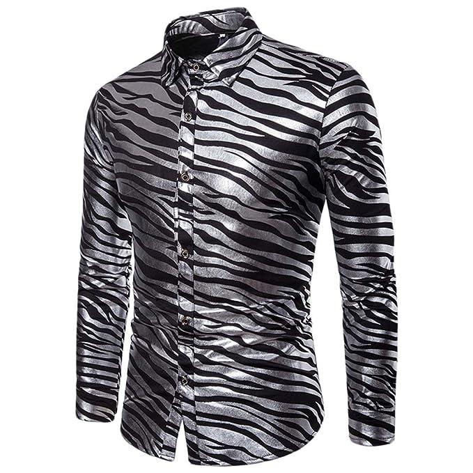 ac20748fe WanYangg Camisa De Moda para Hombres Jovenes Shiny Slim Fit ...
