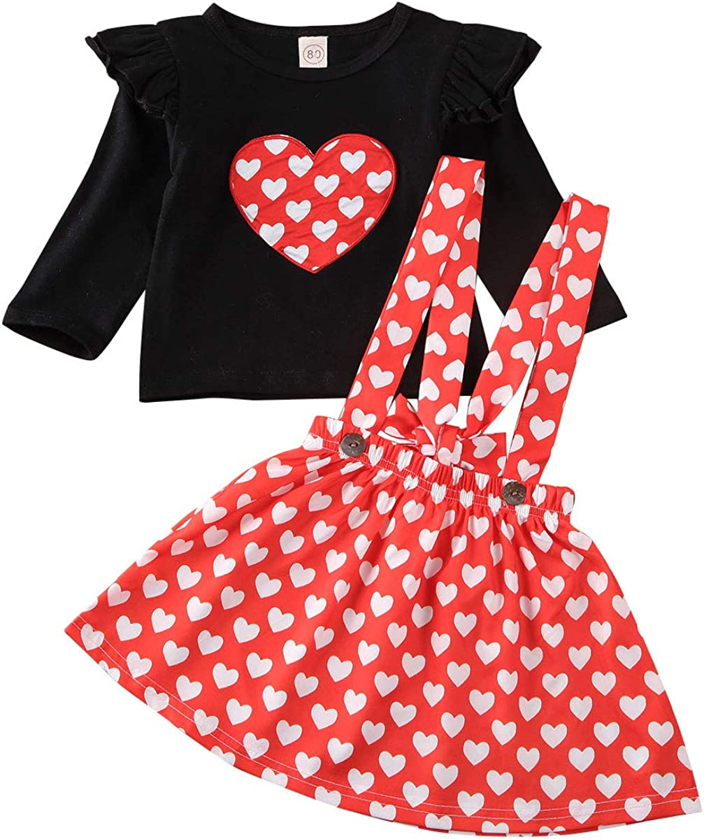 NEW Valentines Day Ruffle Heart Shirt Red Suspender Skirt Girls Outfit Set
