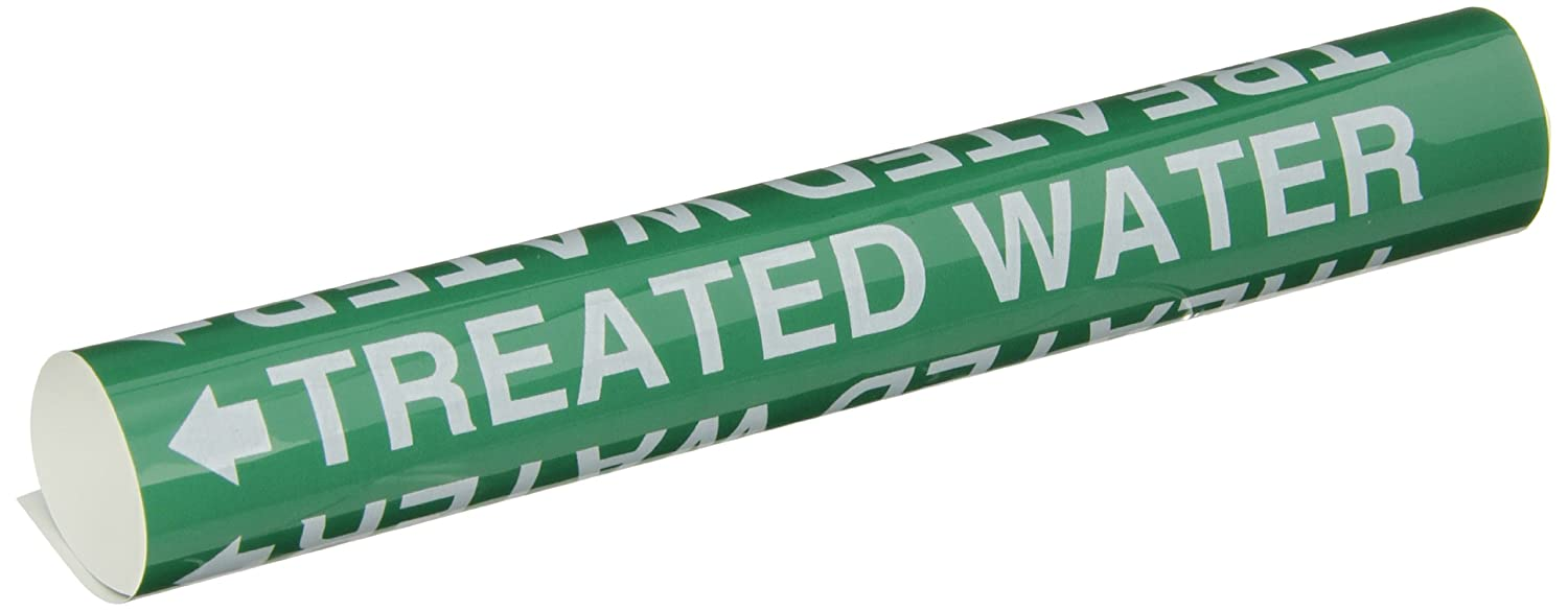 Brady 5775-O High Performance Legend Treated Water White On Green Pvf Over-Laminated Polyester Wrap Around Pipe Marker B-689