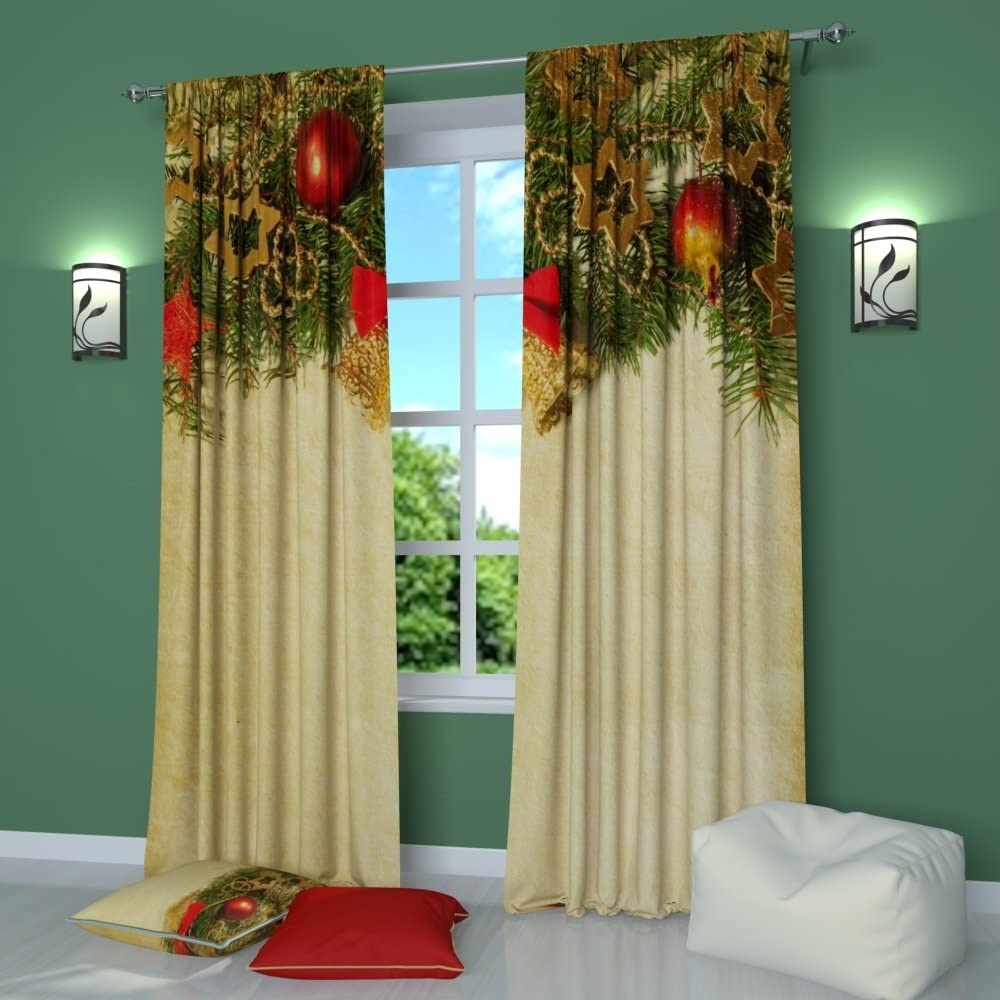 Amazon Com Factory4me Christmas Curtains New Year S Ring Window Curtain Set Of 2 Panels Each W42 X L84 Total W84 X L84 Inches Drapes For Living Room Bedroom Kitchen Home Kitchen