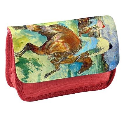 Toulouse Lautrec The Jockey, Rojo Escuela Niños Sublimación Alta calidad Poliéster Estuche de lápices con Diseño Colorido. 21x13 cm.: Amazon.es: Oficina y papelería