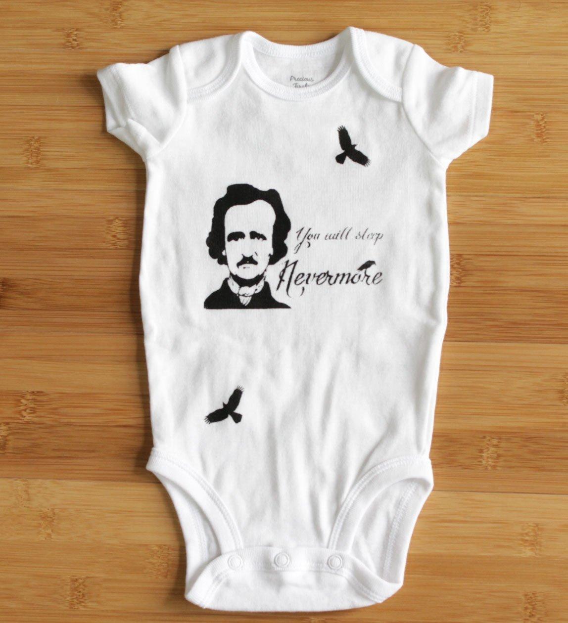 Edgar Allan Poe bodysuit You Will Sleep Nevermore. Color/Sleeve Options.