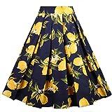 Dressever Women's Vintage A-Line Printed Pleated Flared Midi Skirts Lemon (Navy) X-Large