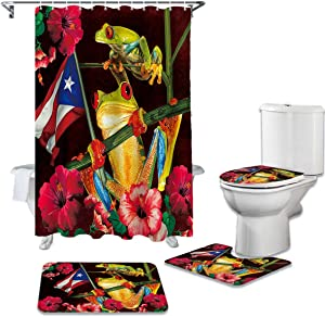 OneHoney 4 Piece Shower Curtain Sets with Non-Slip Rugs, Funny Frogs and Spring Floral Bathroom Curtains Waterproof, Puerto Rico Flag Decor Doormat, Toilet Lid Cover and Bath Mat