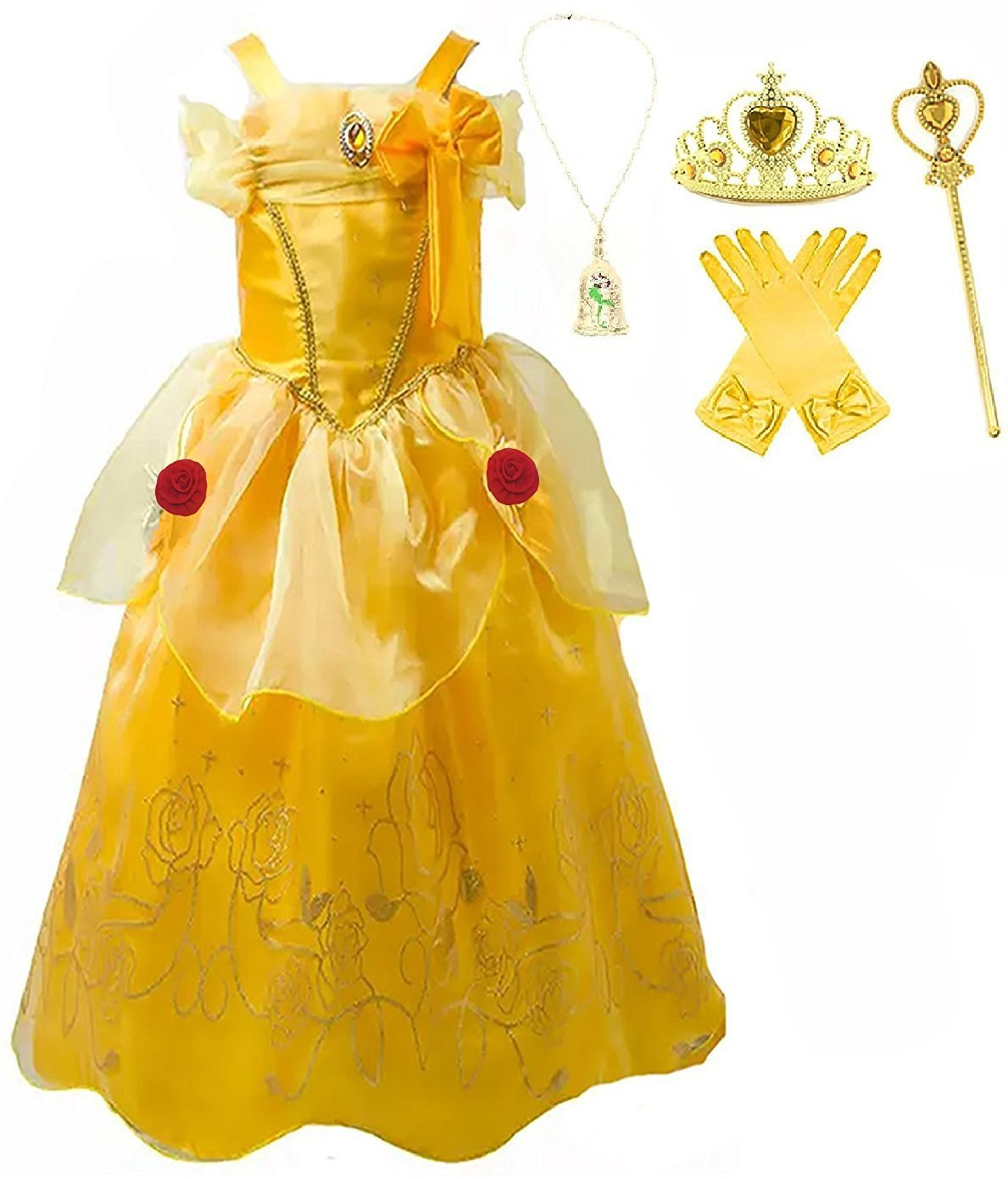 Romy's Collection Princess Belle Yellow Party Dress Costume (6-7, Yellow)