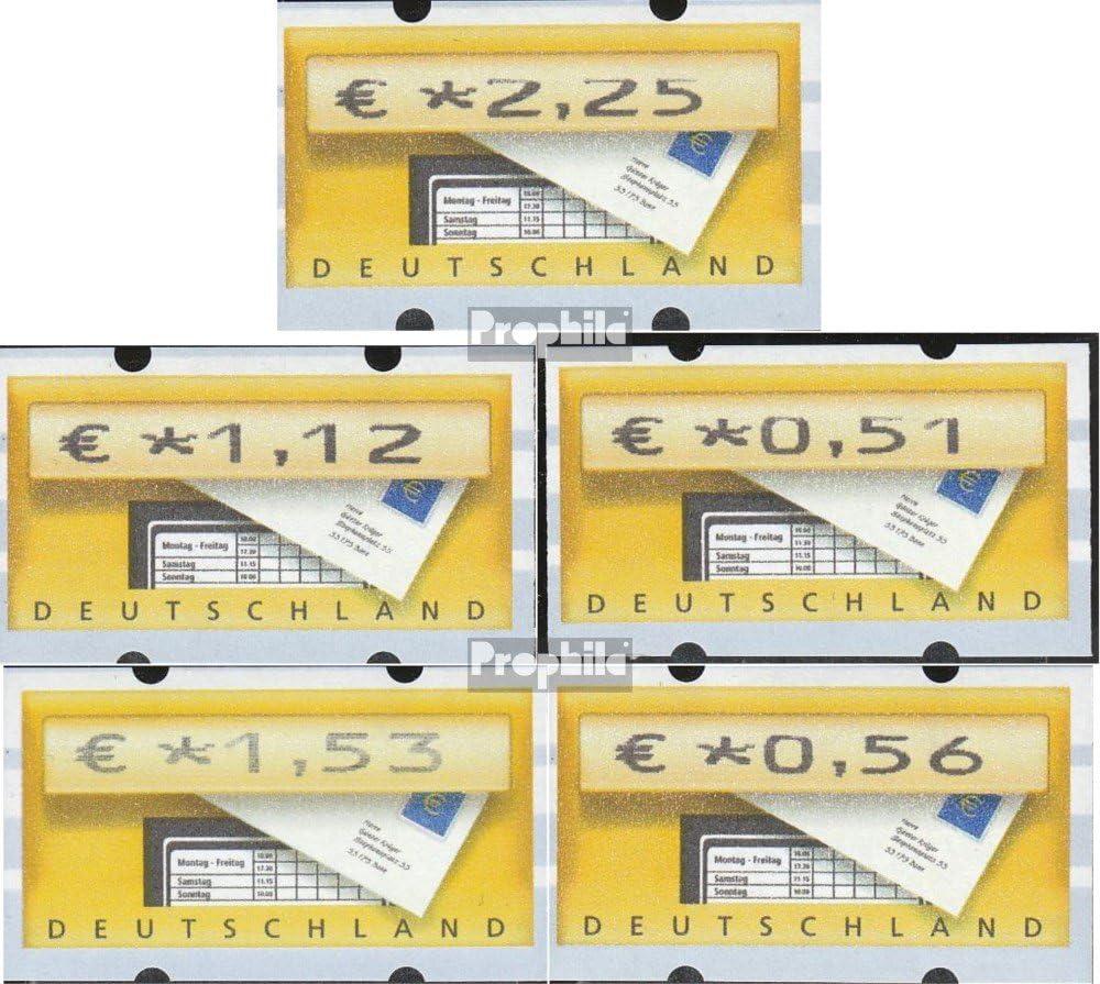 BR.Deutschland 2002 Automatenmarke 0,51,0,56, 1,12,1,53,2,25 Satz 2 Prophila Collection BRD Briefmarken f/ür Sammler Marke auf Marke ATM5