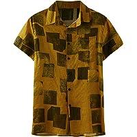 riou Hombre Camisa de Manga Corta Casual Beach Camisas Blusa de Verano con Botones para Hombre Top Hawaii Transpirable…