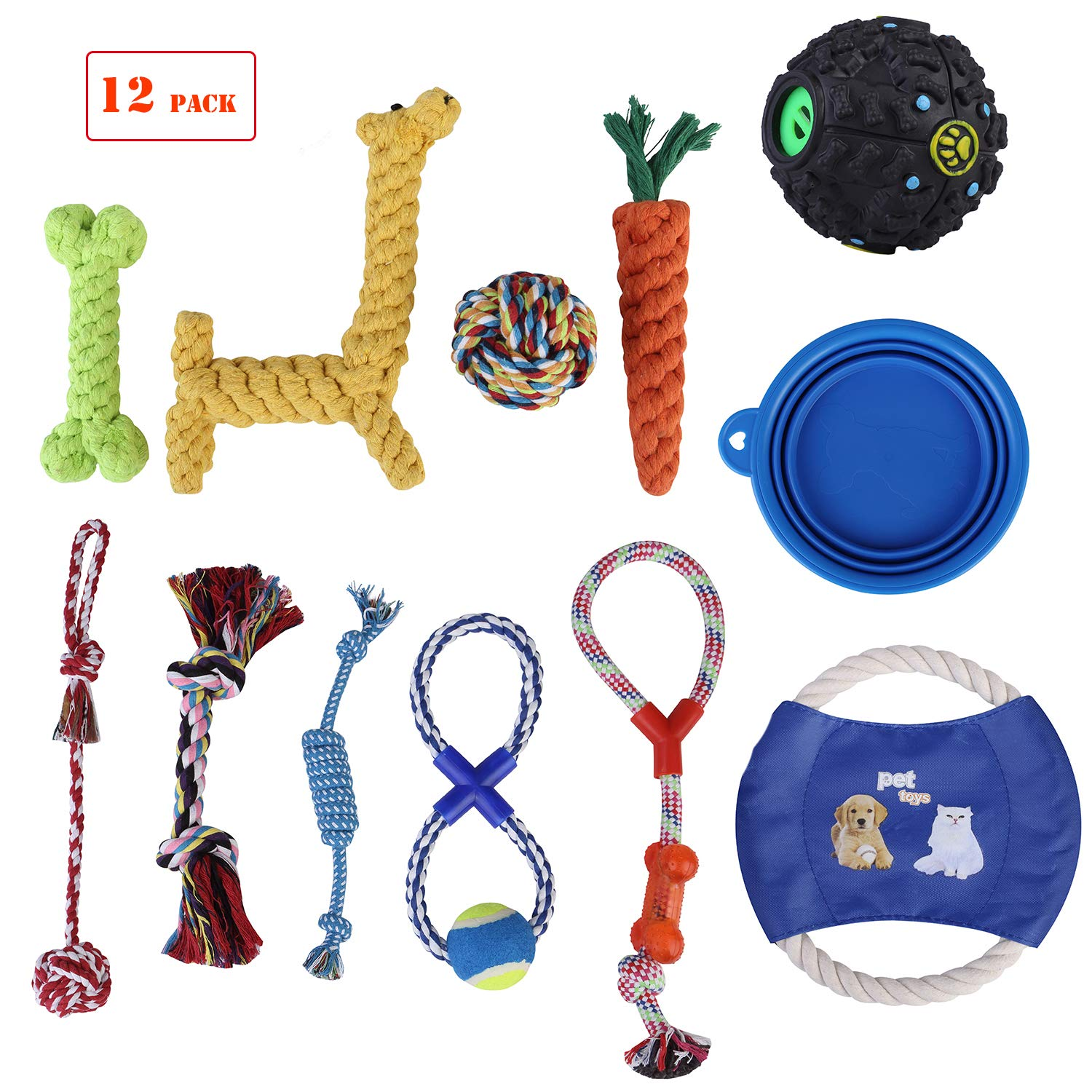 HBPET Dog Toys Value Pack 11 Pcs Puppy Pet Dog Toy Gift Set,Dog Teething Training Funny Toys-Rope Toys,Squeaky Ball,Chew Toys,Frisbee Collapsible Silicone Pet Bowl HBCW12-Pack