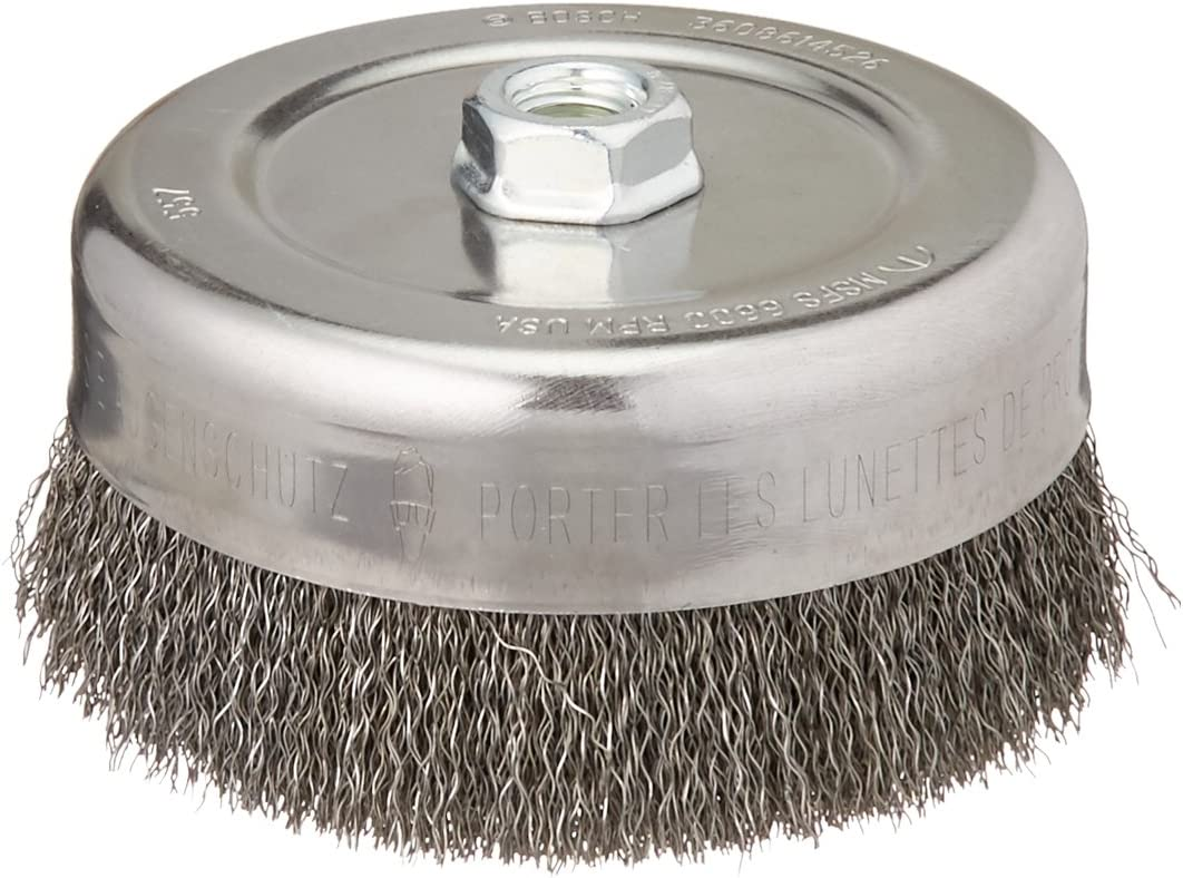 5//8-Inch x 11 Thread Arbor Bosch WB526 6-Inch Crimped Carbon Steel Cup Brush