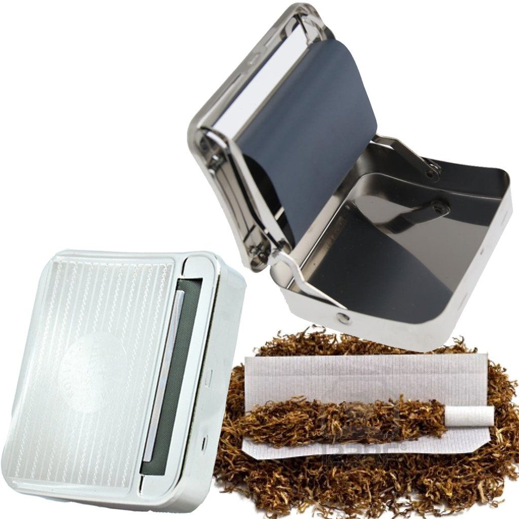 Guaranteed4Less Cigarette case with automatic cigarette rolling device, metal