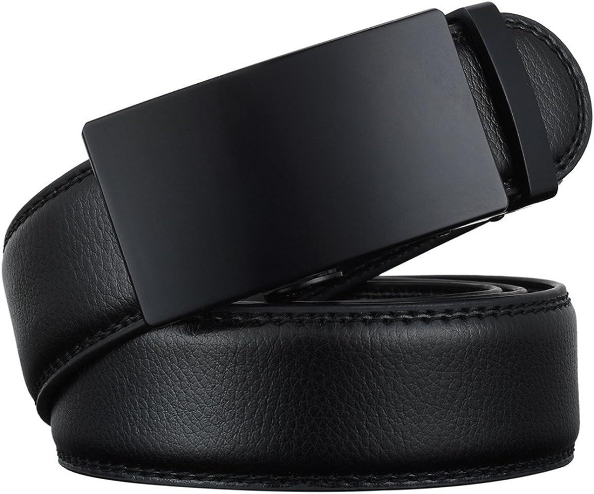Fashion Designer Belts For Men Sliding Buckle Ratchet Luxury Leather Men Belt Automatic