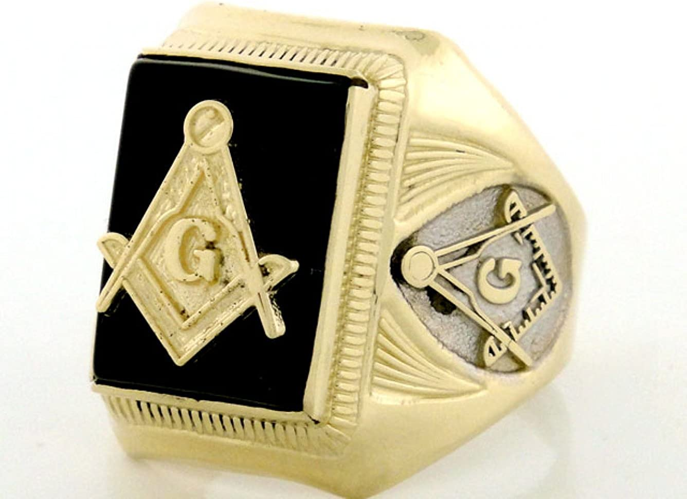 10k Gold Two-Tone Onyx Masonic Mens Ring Style# 1957