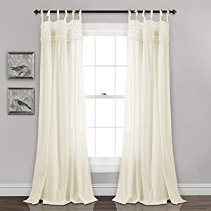 """Lush Decor Lydia Curtains Ruffle Window Panel Set for Living, Dining, Bedroom (Pair), 84"""" x 40"""", Ivory"""