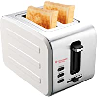 DUVERRA Stainless Steel 2-Slice Pop-up Toaster, Deep Slots with Adjustable Browning Control, Slide Out Crumb Tray for Easy Cleaning, Defrost and Reheat Function, White