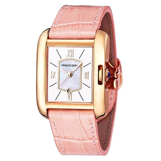 Reloj de pulsera para mujer con correas de piel de becerro y oro rosa: Amazon.es: Relojes