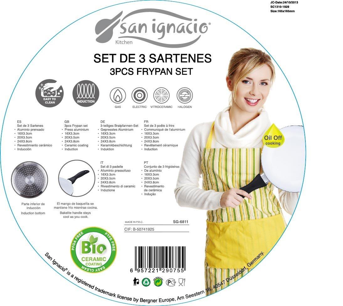 San Ignacio Set 3 Sartenes Aluminio Prensado con Revestimiento Cerámico, baquelita, Blanco, Centimeters