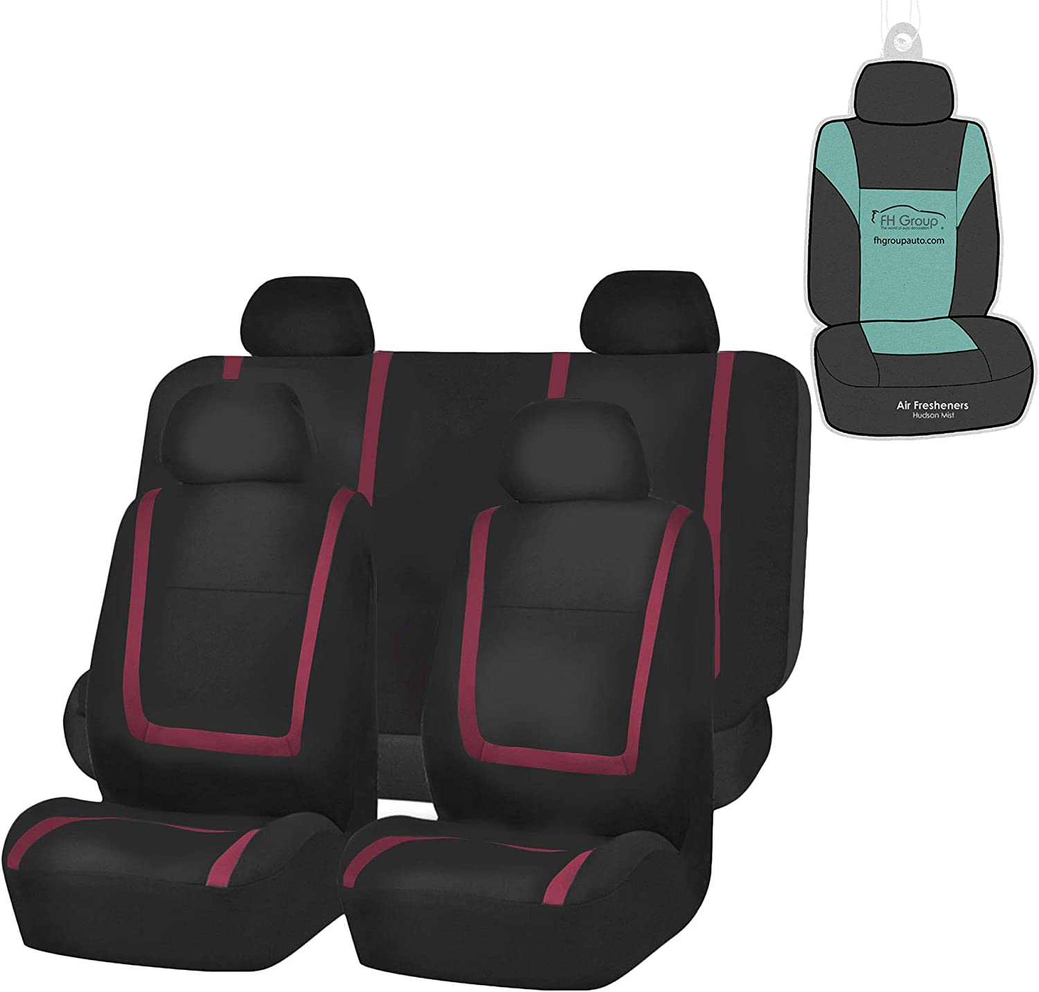 FH Group FB032114 Unique Flat Cloth Seat Covers (Burgundy) Full Set with Gift – Universal Fit for Cars Trucks & SUVs