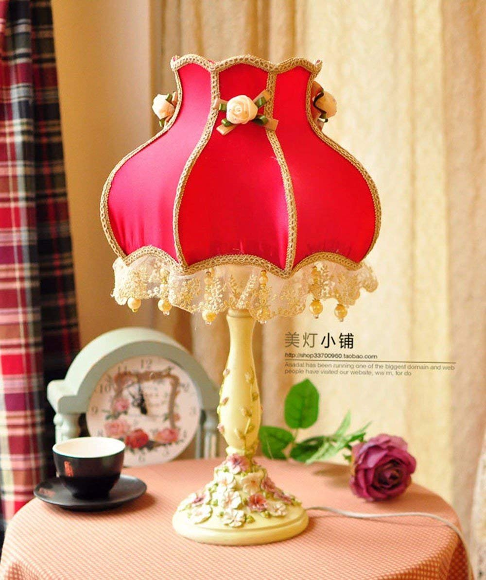 HYW Tischlampe-Europäischen Stil Schlafzimmer Lampe idyllische Lampen Stoffe Spitze Lampe Dekoration Lampe