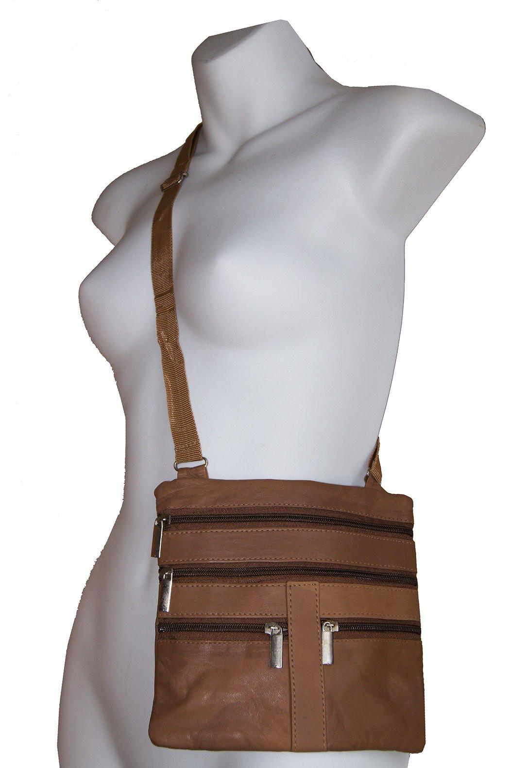Tan Ladies Genuine Leather Cross Body Bag Satchel Messenger Bag 48'' Strap