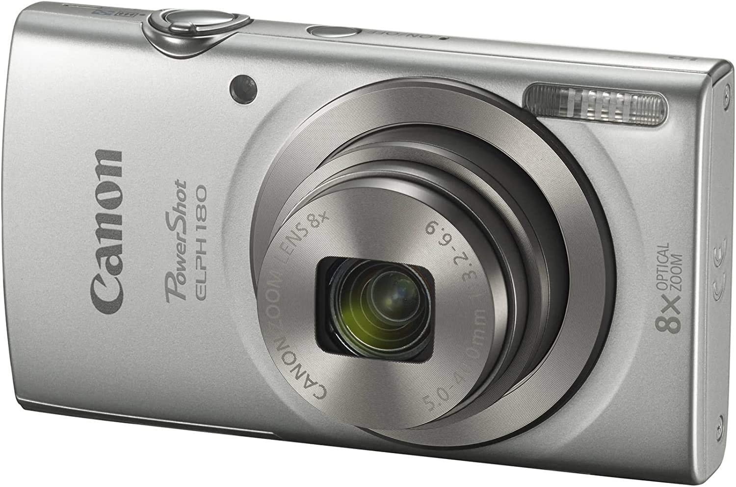 Canon PowerShot Elph 180 Digital Camera (Silver) with 32GB Card + Case + TopKnotch Kit