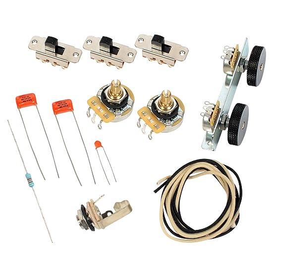 amazon com: fender vintage '62 jaguar wiring kit - pots switch slider caps  bracket diagram: musical instruments