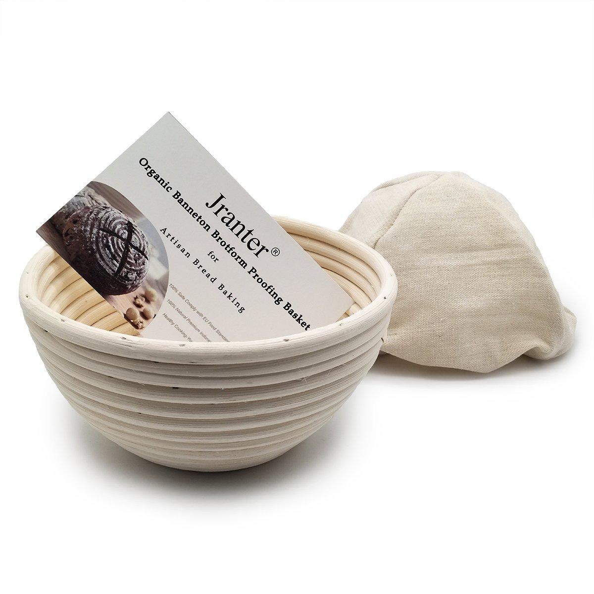 Dgtek 4 pcs 7 inch Round Banneton Brotform Bread Proofing Basket Natural Rattan Cane Handmade & Linen Liner Cloth
