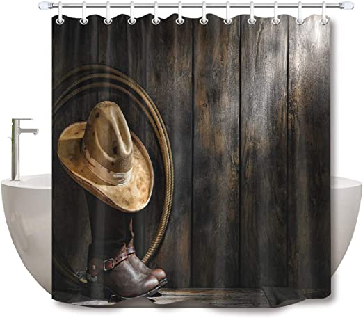 Rustic Barn Wood Cowboy Hat Lasso Boots Shower Curtain Liner Waterproof Fabric
