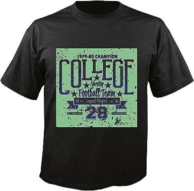 T-Shirt Camiseta Remera Jugadores Leyenda Fútbol del Equipo Universitario FÚTBOL Americano Equipo de la Bundesliga de fútbol del Colegio Equipo de béisbol de la Camisa del fútbol Equipo in Negro: Amazon.es: Ropa