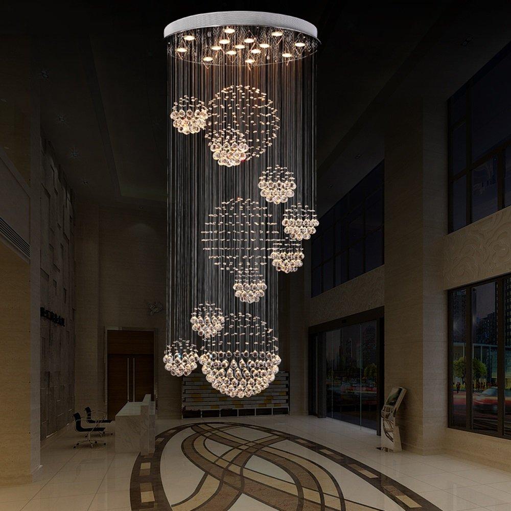 FGDD Led Chandelier Modern Duplex Escaliers Chandeliers Crystal Long Lustre Lampes A++ ( taille : C:90*300cm ) YUAN JIAN SHOP