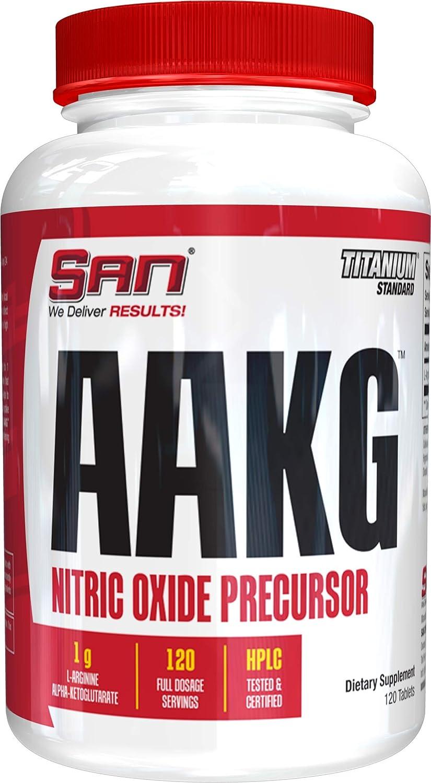 SAN Nutrition AAKG Nitric Oxide Precursor Pre-Workout Supplement, 120 Count