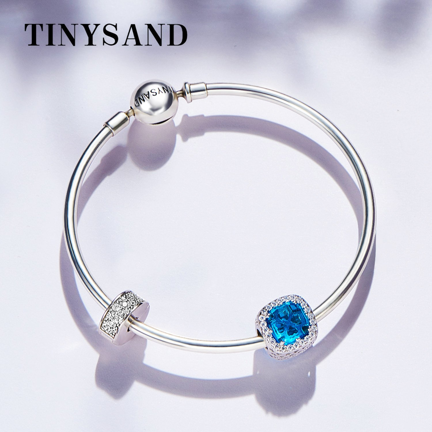 TINYSAND 925 Sterling Silver Dazzling CZ Clip Lock Stopper Spacers Charms Beads Fits European Snake Bracelet Bangle Unique Jewelry for Girls Women by TINYSAND (Image #2)