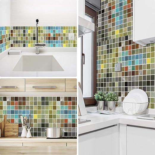 Ruifulex Pegatinas de Azulejos para Cocina Mosaico baños ladrillo escaleras Suelo 20x20 cm, Coloreado Papel simulación rueba de Aceite Vinilo Autoadhesivo Impermeable baldosas hidraulicas Actualizar: Amazon.es: Hogar