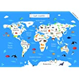 EkDali World Map Poster A3 Size 11.7 x 16.5-inches, Ideal Gift for All Ages: Map of the World with Animals and Monuments