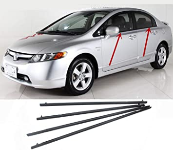 Amazon Com Motorfansclub 4pcs Weatherstrip Window Seal Fit For Compatible With Honda Civic 2006 2007 2008 2009 2010 2011 Door Outside Trim Seal Belt Black Automotive