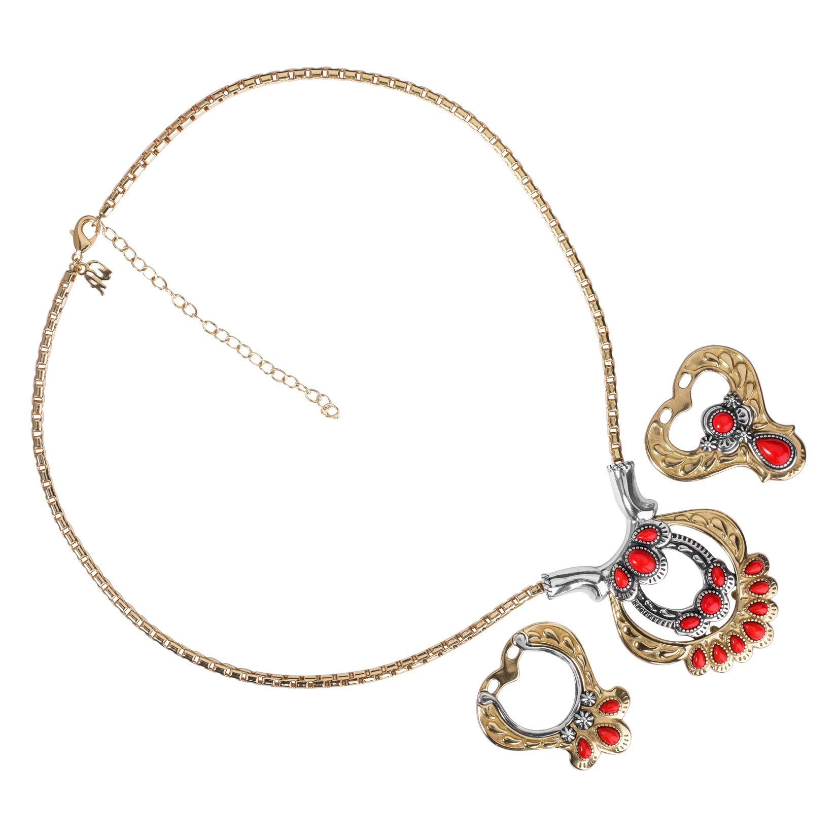 Sterling Silver, Brass and Red Coral Necklace with Removable Stations by American West (Image #4)