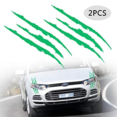TOMALL 2 Pcs Claw Marks Headlight Reflective Sticker Waterproof Scratch Car Sticker Scratch Stripe Decal Car Sticker for Car Headlamp Engine Green: Automotive